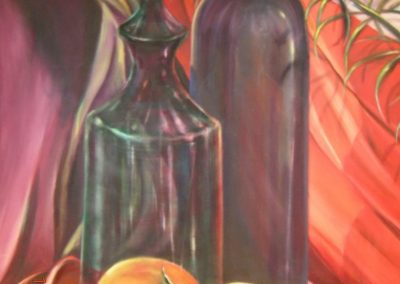 Still life with wine - Oil on Canvas
